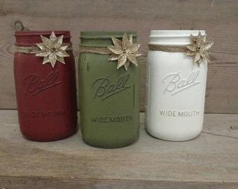 Christmas Mason Jar, Christmas Mantle, Mason Jar, Mantle Decor, Rustic Christmas Decor, Rustic Table Decor, Christmas Mason Jar, Mason Jars
