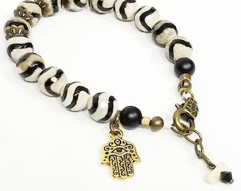 HAMSA HAND BRACELET, antique gold, boho bracelet, boho jewelry, boho chic bracelet, charm bracelet, stone bracelet