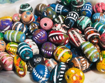 Gypsy Vintage Beads Matt Finish BEADS White Circular Accents Boho Red Clay Beads Black Glaze Made in India ETHNIC BEADS