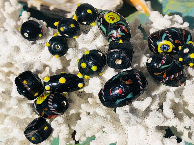 15pcs Vintage Handmade Venetian BeadsDotted Lampwork Beads  Polka Dot Glass Beads Raised Dots Beads SUPPLY C4-90#00696{}