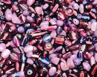 SUPPLY:  50grams Colorful Mix up Purple Glass Beads - Small Beads-Glass Beads . {G1-1660#002496}