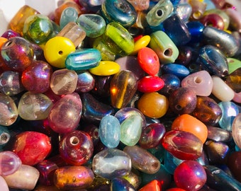 SUPPLY:  50grams Colorful Mix up Luster Color Glass Beads - Small Beads-Glass Beads . {R3-1631#02352}
