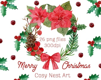 merry christmas clipart watercolor christmas clipart watercolor winter chirstmas clip art set instant download christmas planner