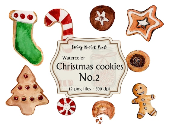 Christmas Cookies Clipart.Christmas Cookies No 2 Clipart Set Watercolor Cookies Christmas Clipart Food Clipart Holiday Clipart Png Clipart
