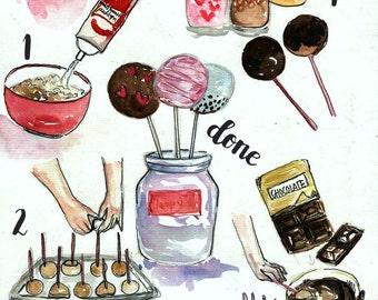 Custom recipe illustration, custom food art, watercolor recipe, custom watercolor