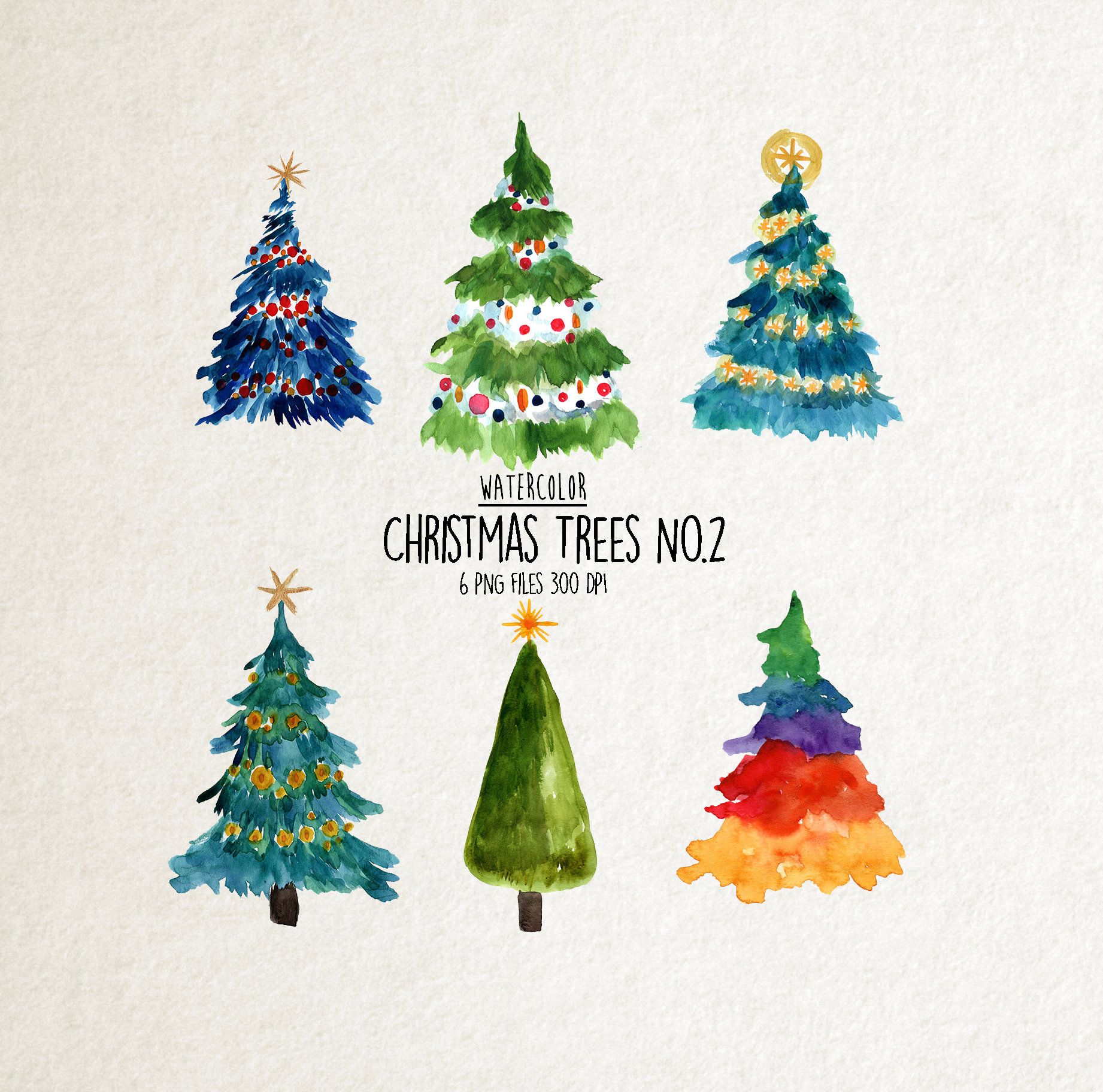 Watercolor christmas trees clipart No.2 watercolor winter   Etsy