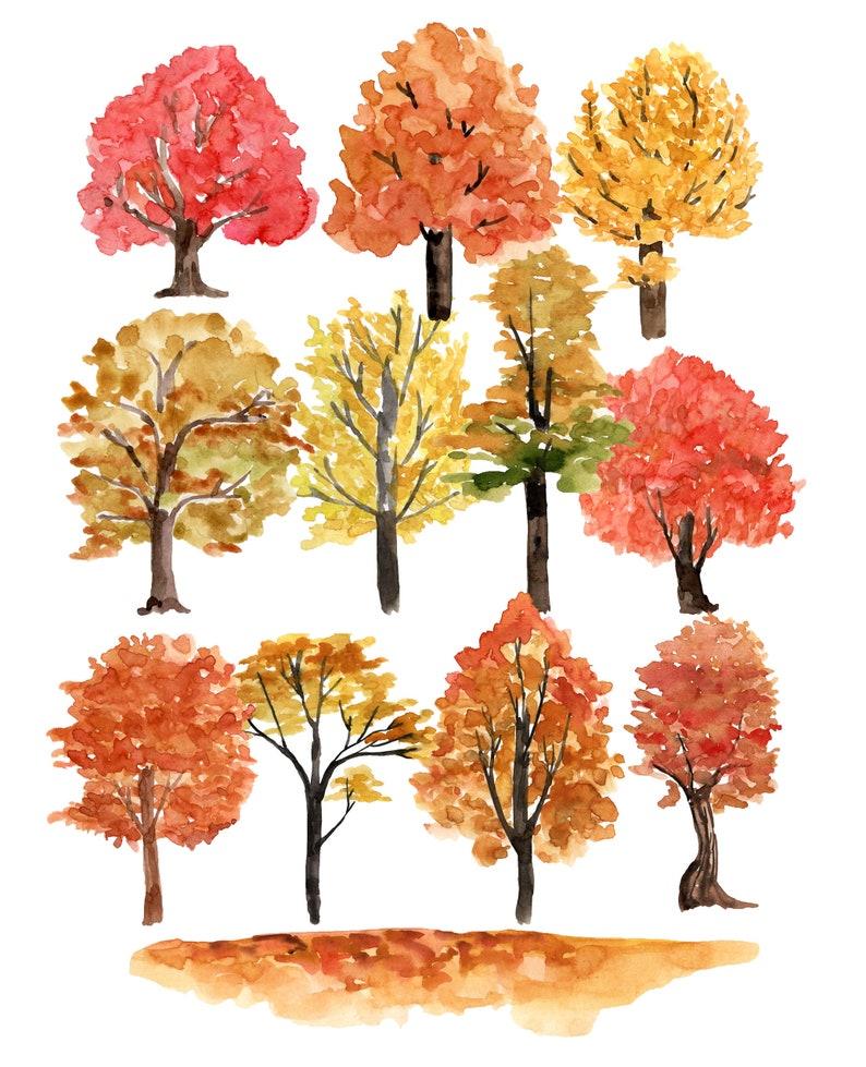 fall tree clipart fall clipart tree clipart watercolor tree Autumn trees clipart fall printable autumn clipart