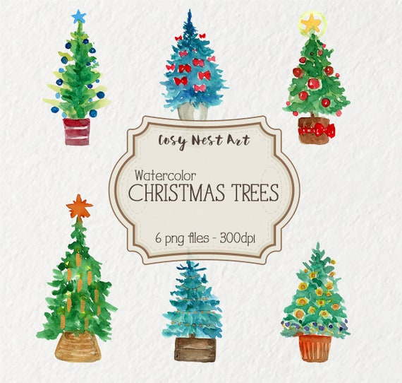 Watercolour Christmas Tree: Christmas Trees Clipart Watercolor Christmas Tree