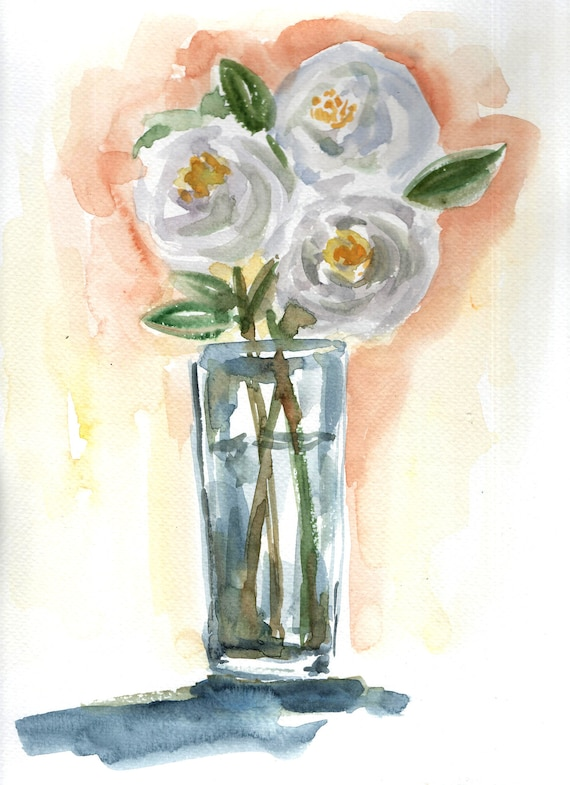 White Flower Vase Painting Original Watercolor Painting Etsy