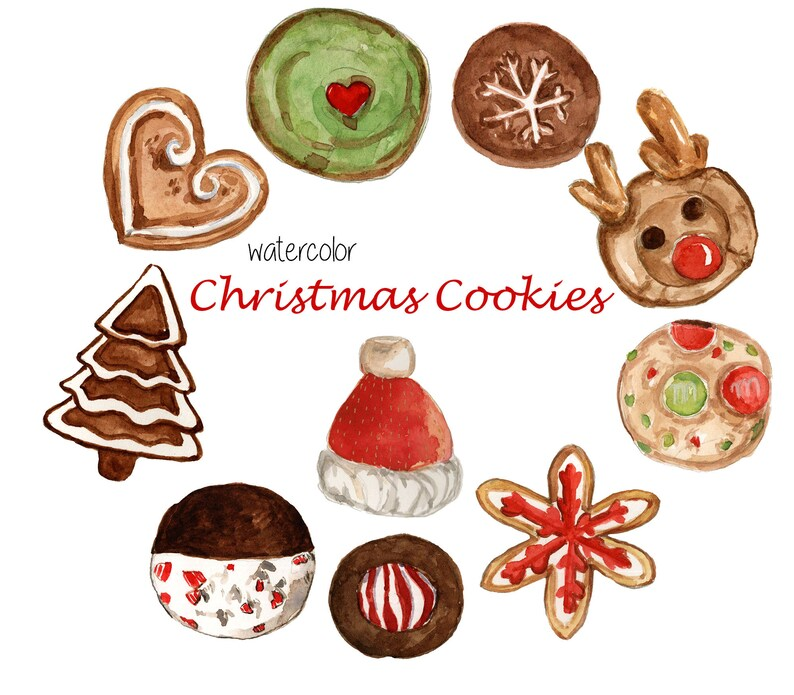Christmas Cookies Clipart Watercolor Cookies Clipart Food Clipart Holiday Clipart Png Clipart