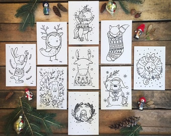 COLORING CARDS - Pack of 6 Christmas coloring cards