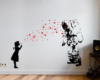 Wall Decal ASTRONAUT & HEART BUBBLE Girl, Astronaut's Daughter Wall Sticker, Banksy-Style Street Art, Graffiti Urban Interior Design