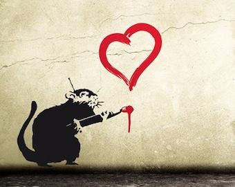 BANKSY Wall Decal Rat with Heart, Banksy Decal, Graffiti Rat, Street Art Wall Sticker, Banksy Stencil-Style Urban-Wall-Decor