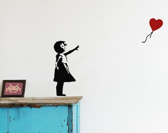 BANKSY Wall decal BALLOON GIRL with heart balloon, Banksy Vinyl Street Art Wall Sticker, Graffiti Wall Stickers, urban interior & home decor
