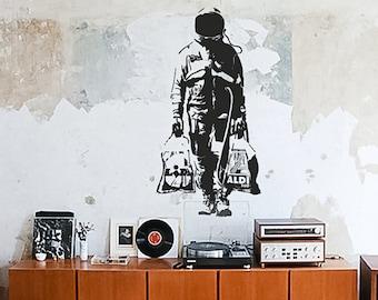 Wall decal BANKSY ASTRONAUT with bags, Street Art Sticker, Spaceman, Graffiti, Banksy Decal Wall Art, modern interior design, urban decor