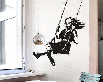 Banksy Decal GIRL ON A SWING, Wall Sticker Street Art, Banksy Wall Art, Graffiti, Vinyl Art, Urban Interior Design, Urban Art Home Decor