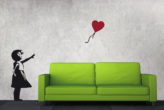 Banksy wandtattoo ballon m dchen mit luftballon streetart etsy - Wandtattoo ballon ...