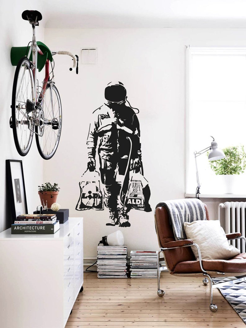 Wall decal BANKSY ASTRONAUT Street Art Sticker Spaceman image 0