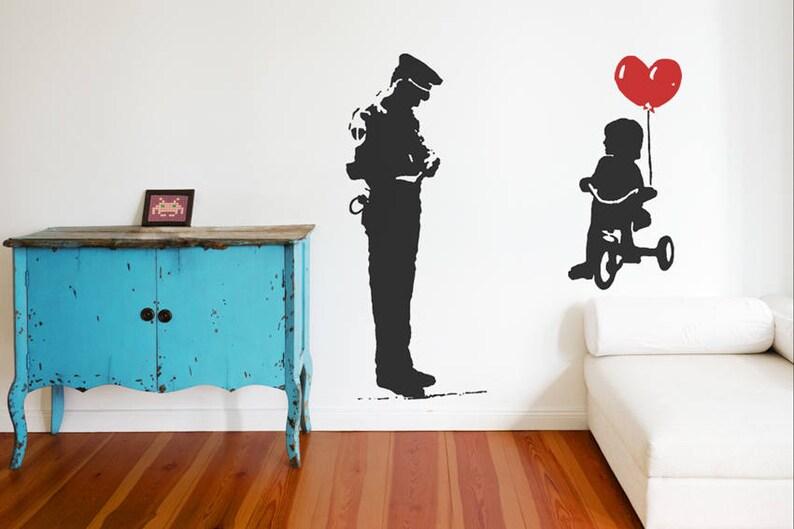 vinyl art home decor urban interior Banksy Wall Decal TRICYCLE COP street art wall sticker police guard and balloon girl graffiti