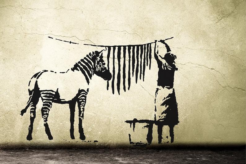 Banksy Decal ZEBRA STRIPES WASHING Laundry Street Art Wall image 0