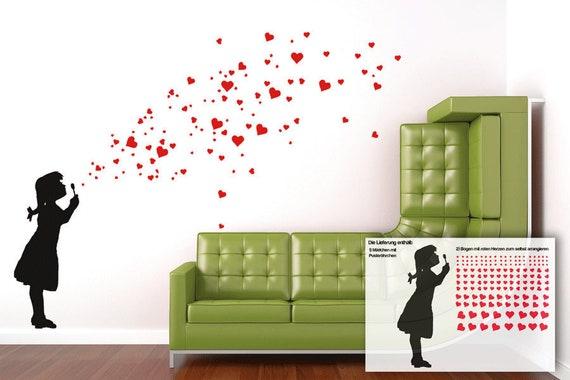 heart bubble girl wall decal diy heart wall stickers soap | etsy