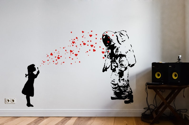 Wall Decal ASTRONAUT & HEART BUBBLE Girl Astronaut's image 0