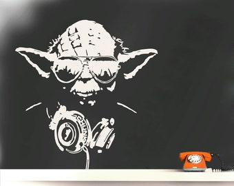 Wall Decal DJ YODA, DJ Street Art Wall Sticker Banksy Style, Yoda Graffiti, Headphones Decal, Urban-Interior