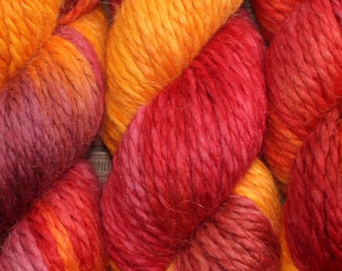 Hand dyed yarn - 100g Baby Alpaca, Chunky (14 ply)  in 'Ablaze'.