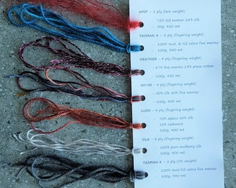SAMPLE CARD for Cloud Forest Yarns