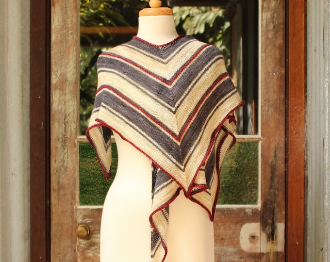 Yarn and Pattern Kit.  Striped Hummingbird Wrap.  Original colourway.