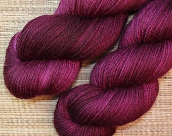 Hand dyed yarn - 115g Fine Superwash Merino -  DK weight (8 ply) in 'Sangria'