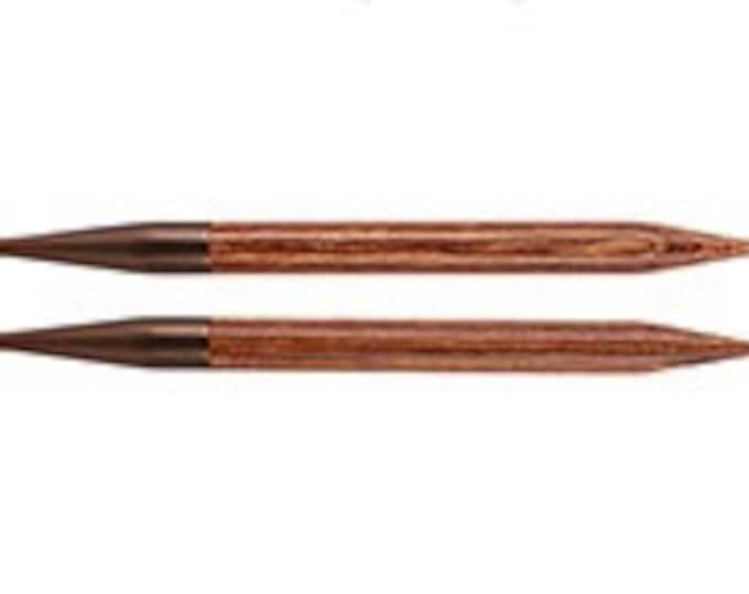 Interchangable circular knitting needle tips.  KnitPro Ginger wood.