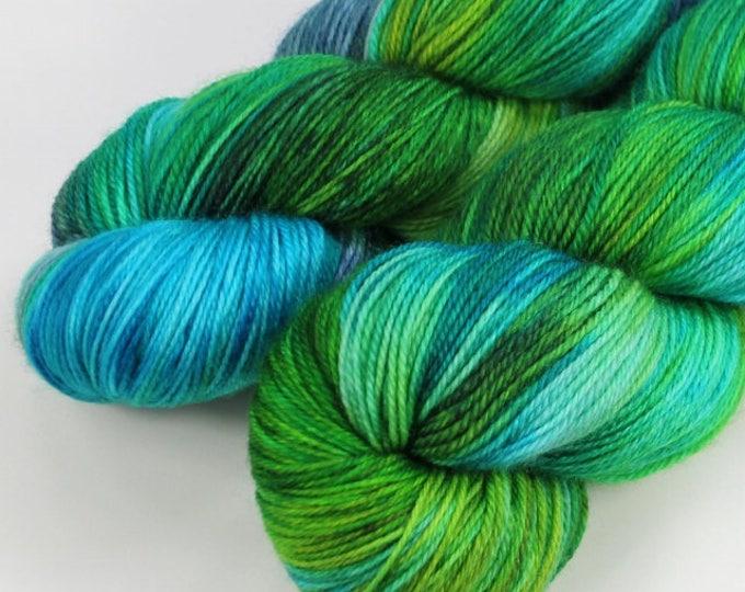 Hand dyed yarn. 100g Merino fingering weight (4 ply). Opal #1712.