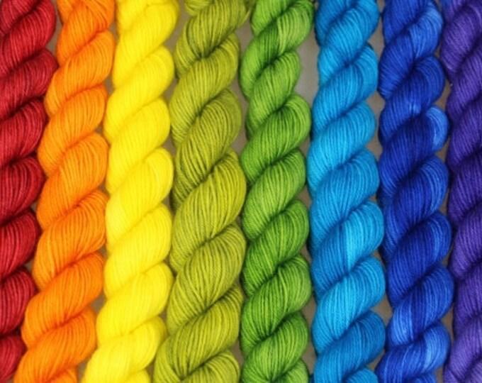 RAINBOW YARN SET.  10 x 20g mini skeins. 4 ply hand dyed merino.