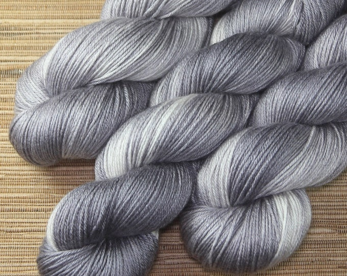 Hand dyed yarn - 100g Silk/Merino fingering weight in 'Quick Silver' - With free cowl pattern