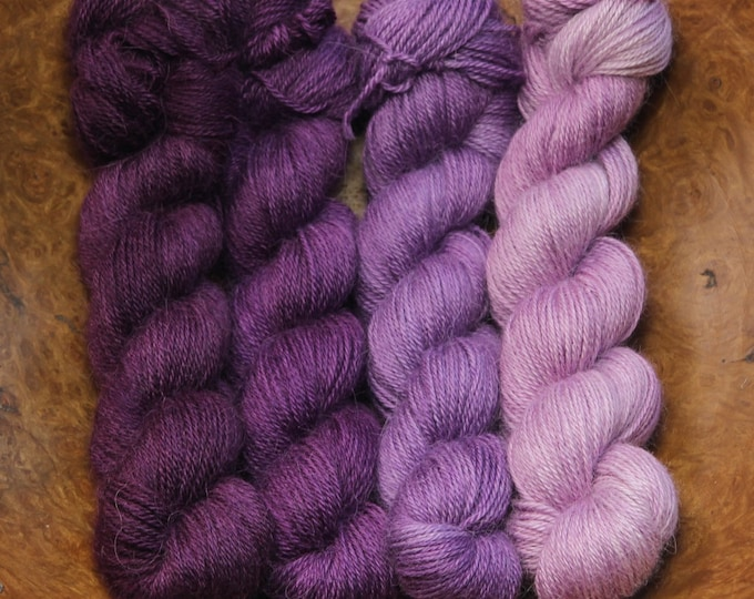 Hand dyed yarn - 200g Ombre set - Alpaca/Silk fingering weight in 'Orchid'.
