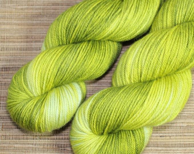 Hand dyed yarn - 115g Fine Superwash Merino -  DK weight (8 ply) in 'Wasabi'