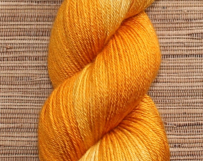 Hand dyed yarn - 100g Silk/Merino fingering weight in 'Saffron' - With free cowl pattern