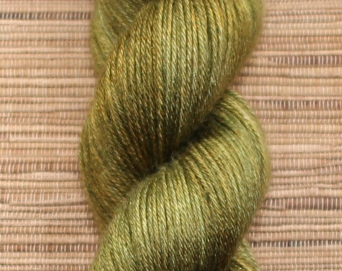 Hand dyed yarn - 100g Silk/Merino fingering weight in 'Rich Olive' - With free cowl pattern