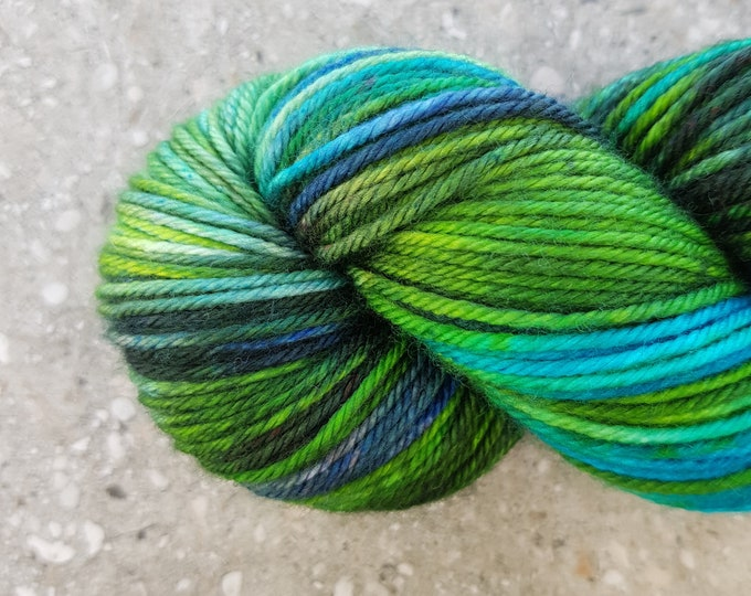 Hand dyed yarn - 115g Fine Superwash Merino -  DK weight (8 ply) in 'Under 'da Sea'