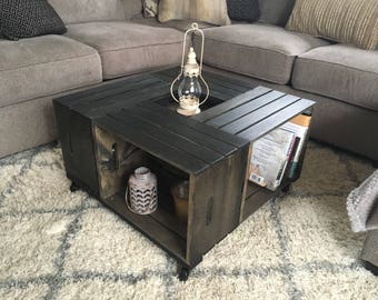 Wine Crate Coffee Table Etsy - Shipping crate coffee table