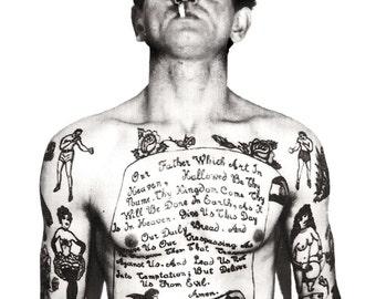 Vintage photo tattoo art print tattooed man smoking Lords Prayer pop art poster gift tattoo artist photograph 1930s