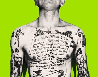 Vintage tattoo art photo pop art print poster tattooed man smoking tattoo artist gift 1930s photograph