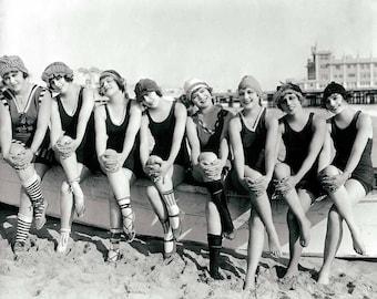 Vintage photo print beach photograph women bathing beauties girls group black and white photograph antique coastal wall decor art poster