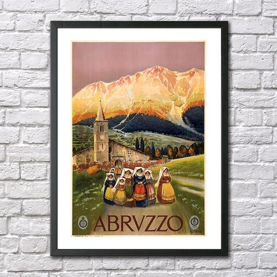 VINTAGE ABRUZZO ITALY ITALIAN TRAVEL A2 POSTER PRINT