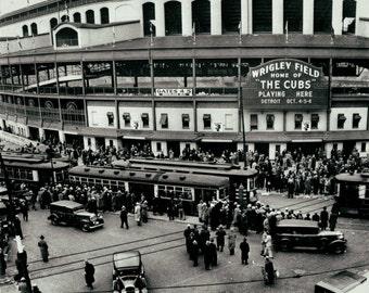 Chicago Cubs Wrigley Field vintage photo baseball stadium antique photograph 1930s-PRINT