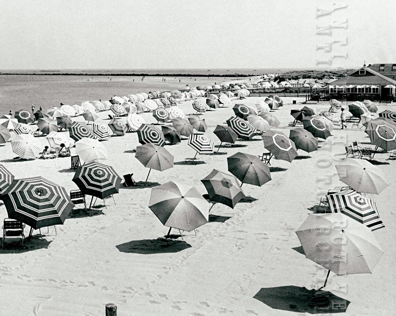 Vintage photo beach umbrellas beach house coastal nautical ocean decor black and white photography wall art print poster