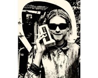 Kurt Cobain poster print photo vintage photography Nirvana poster Nirvana print Cool poster photograph rock music poster Seattle grunge