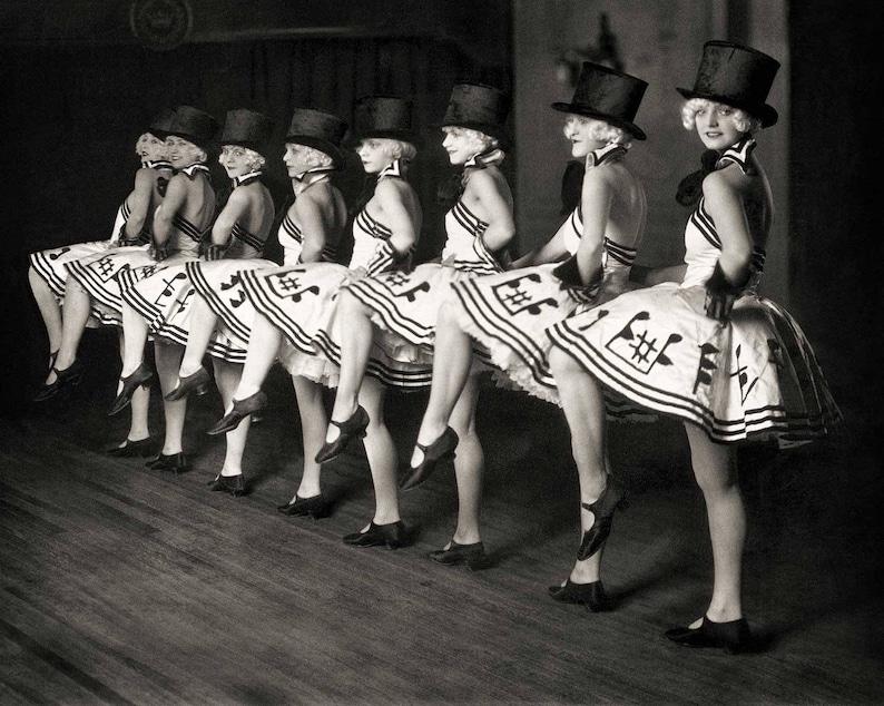 be0c12aff Vintage photo print chorus line dancers Cabaret dance theater