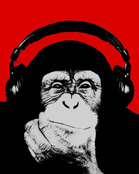 Image result for monkey headphones art